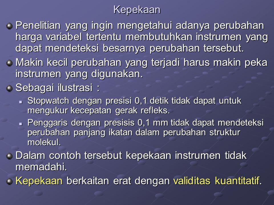 Dalam contoh tersebut kepekaan instrumen tidak memadahi.