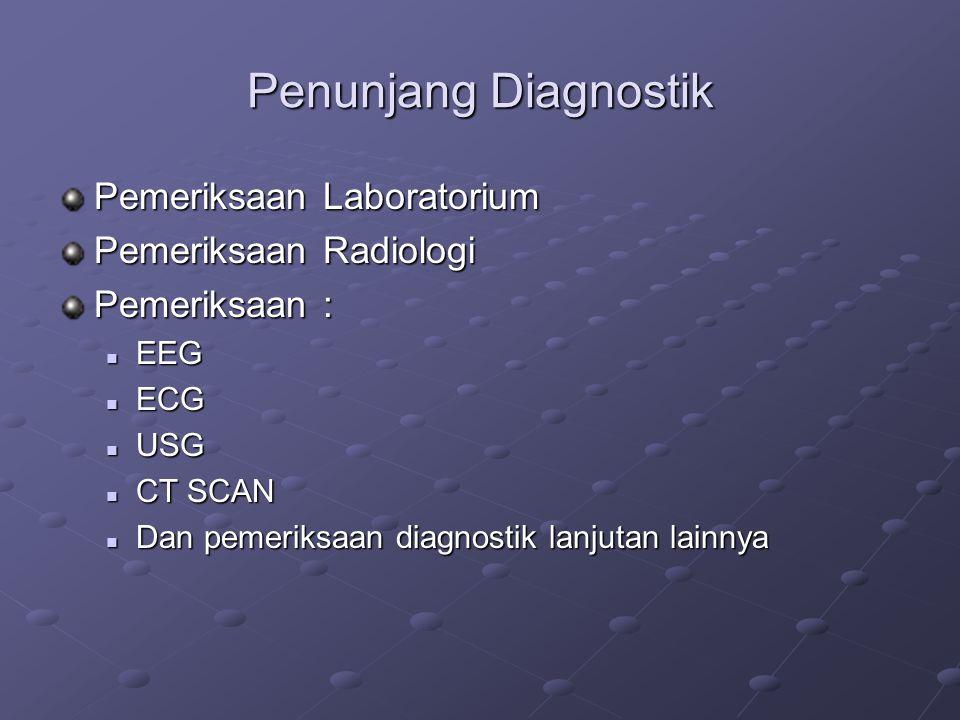 Penunjang Diagnostik Pemeriksaan Laboratorium Pemeriksaan Radiologi