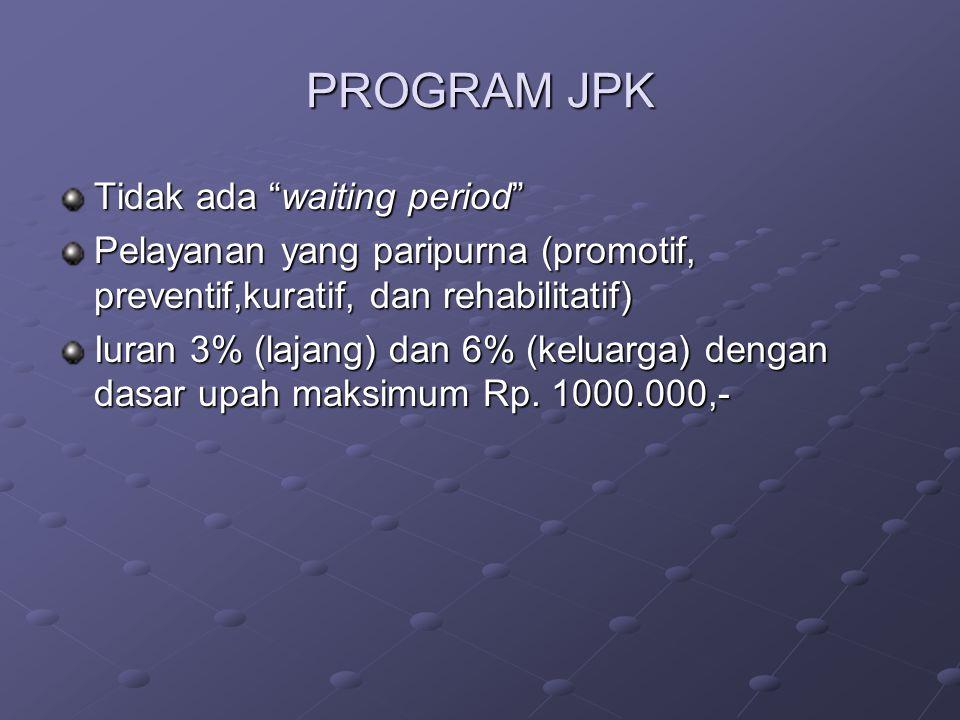 PROGRAM JPK Tidak ada waiting period