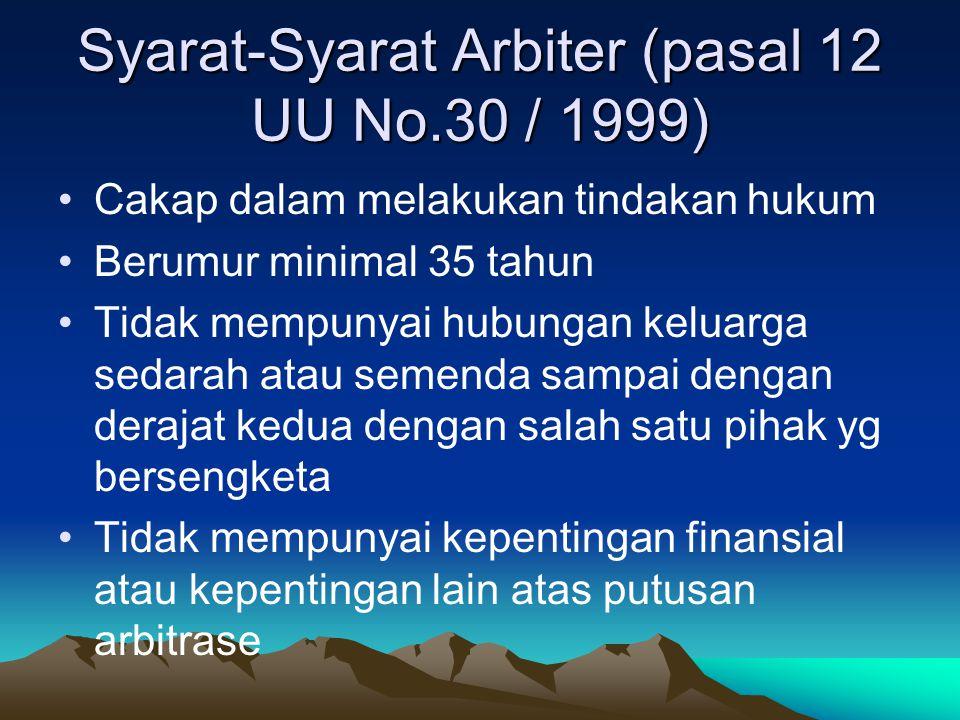 Syarat-Syarat Arbiter (pasal 12 UU No.30 / 1999)