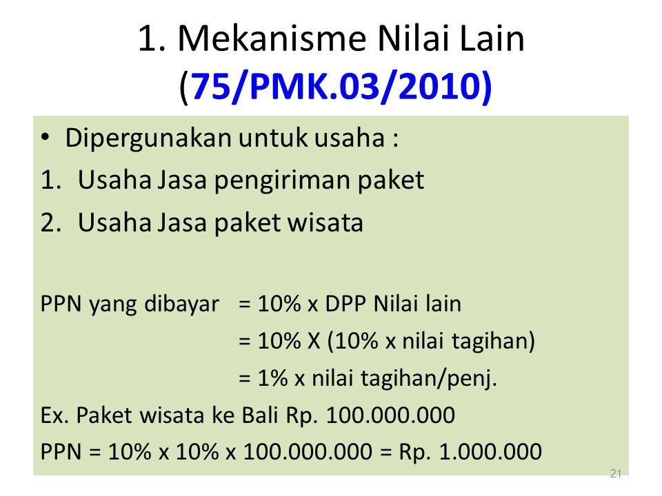 1. Mekanisme Nilai Lain (75/PMK.03/2010)