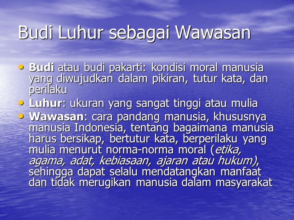 Budi Luhur sebagai Wawasan