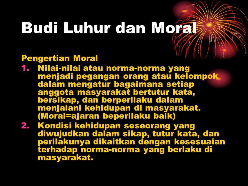 Budi Luhur dan Moral Pengertian Moral