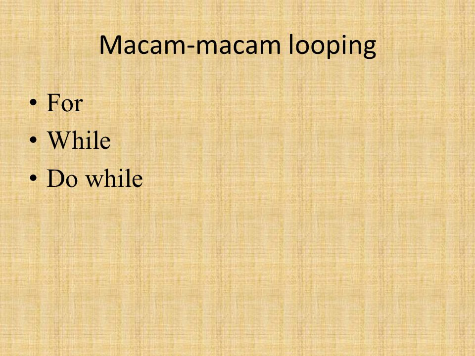 Macam-macam looping For While Do while
