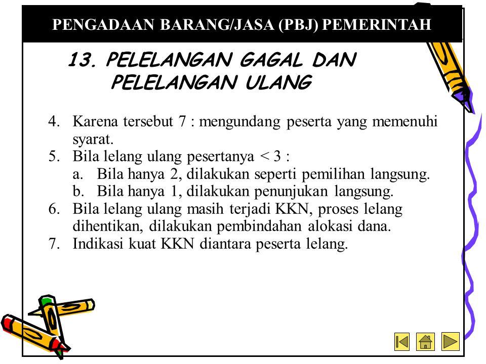 13. PELELANGAN GAGAL DAN PELELANGAN ULANG
