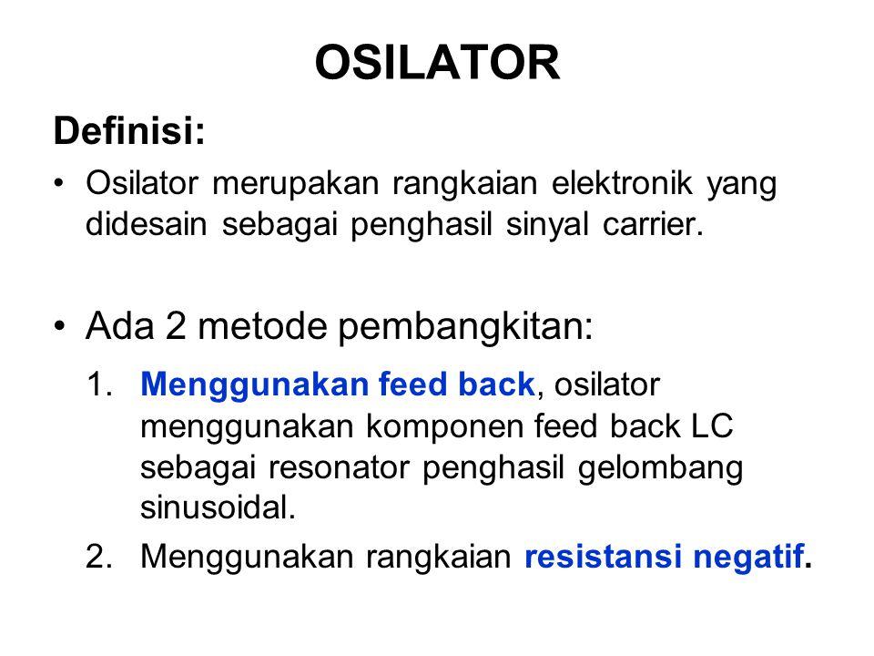 OSILATOR Definisi: Ada 2 metode pembangkitan: