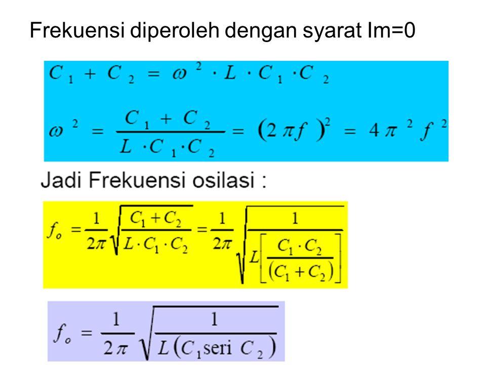 Frekuensi diperoleh dengan syarat Im=0