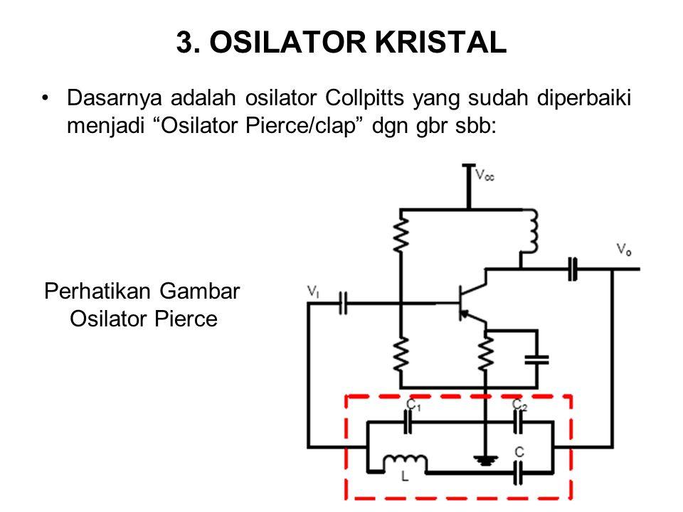 3. OSILATOR KRISTAL Dasarnya adalah osilator Collpitts yang sudah diperbaiki menjadi Osilator Pierce/clap dgn gbr sbb: