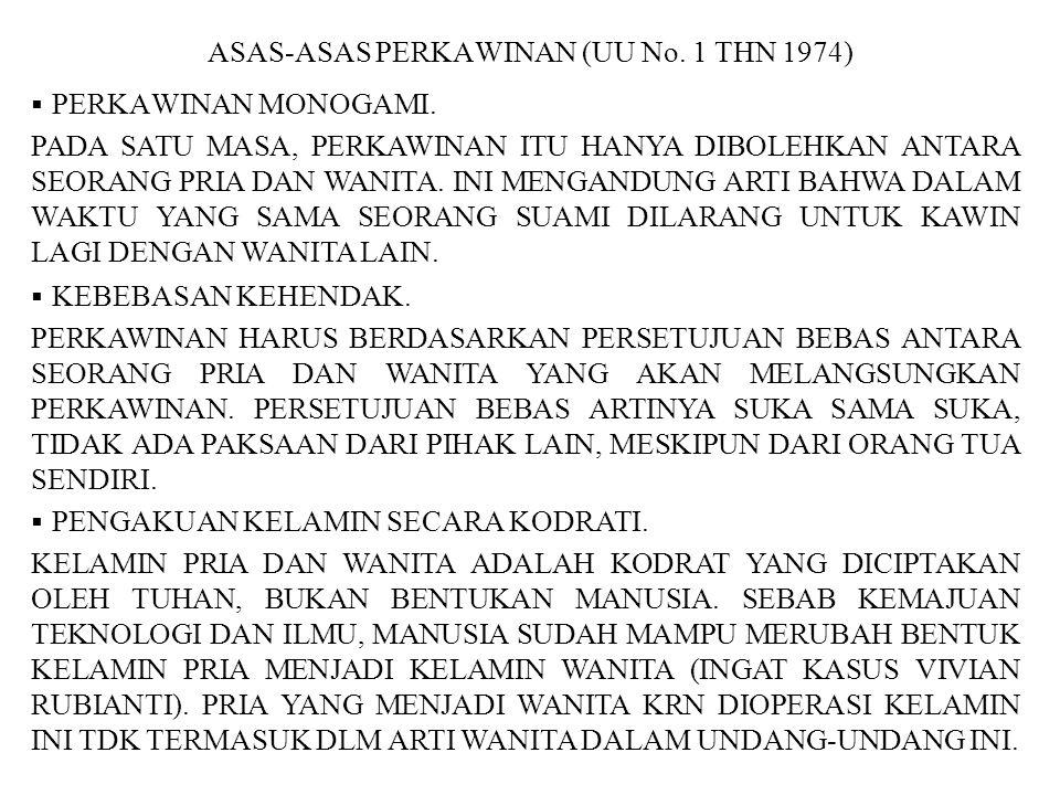 ASAS-ASAS PERKAWINAN (UU No. 1 THN 1974)