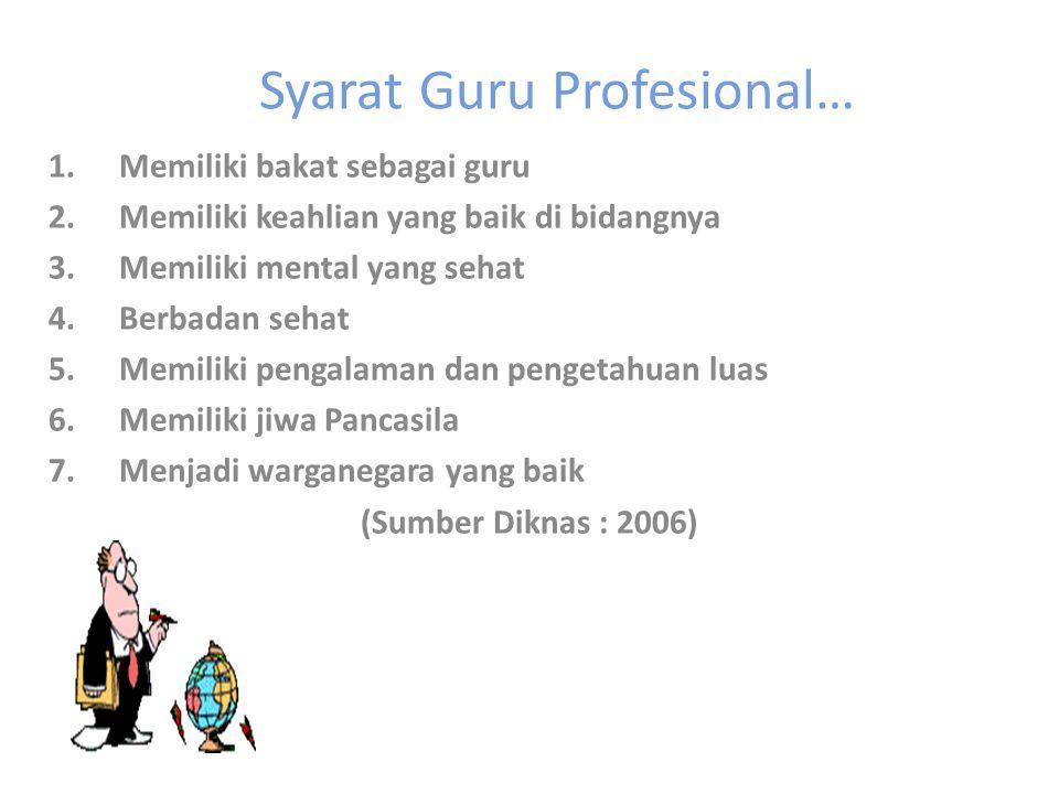 Syarat Guru Profesional…