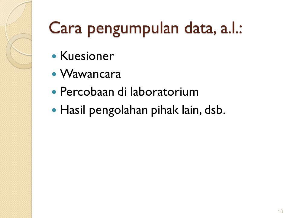 Cara pengumpulan data, a.l.: