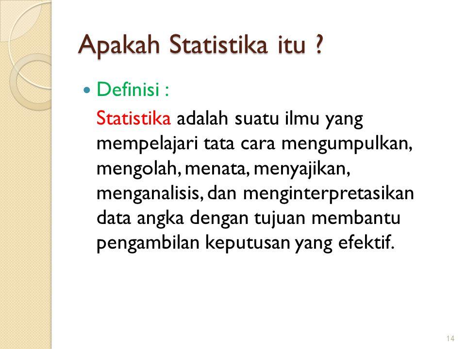 Apakah Statistika itu Definisi :