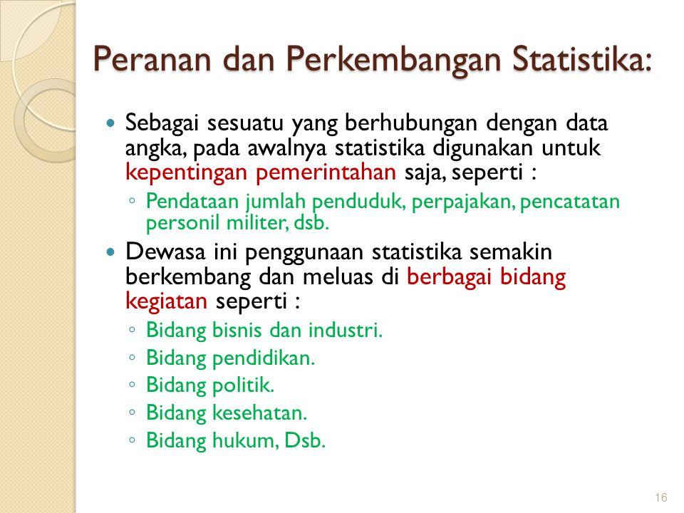 Peranan dan Perkembangan Statistika: