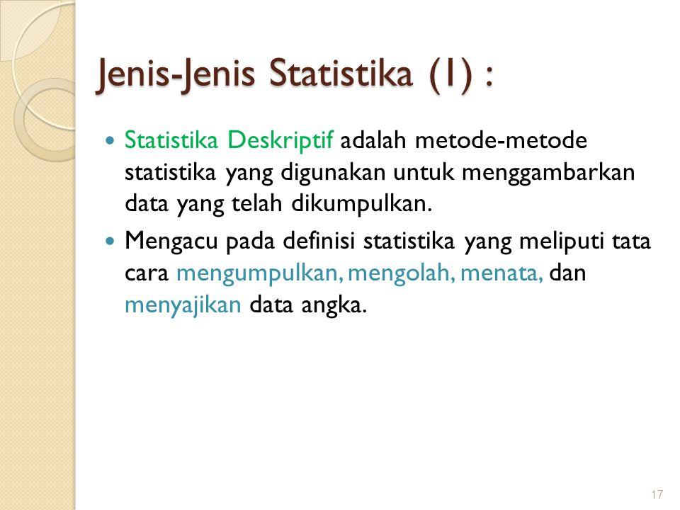 Jenis-Jenis Statistika (1) :