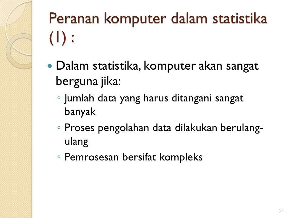 Peranan komputer dalam statistika (1) :