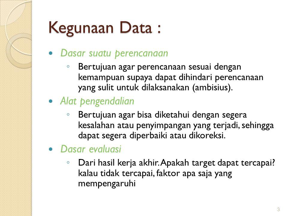 Kegunaan Data : Dasar suatu perencanaan Alat pengendalian