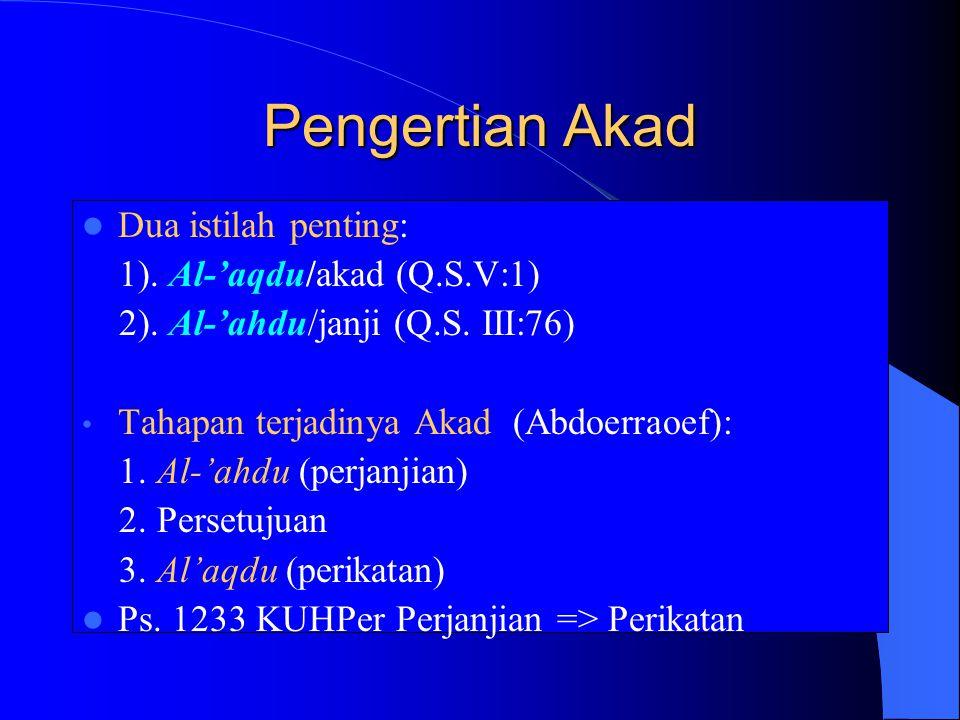 Pengertian Akad Dua istilah penting: 1). Al-'aqdu/akad (Q.S.V:1)