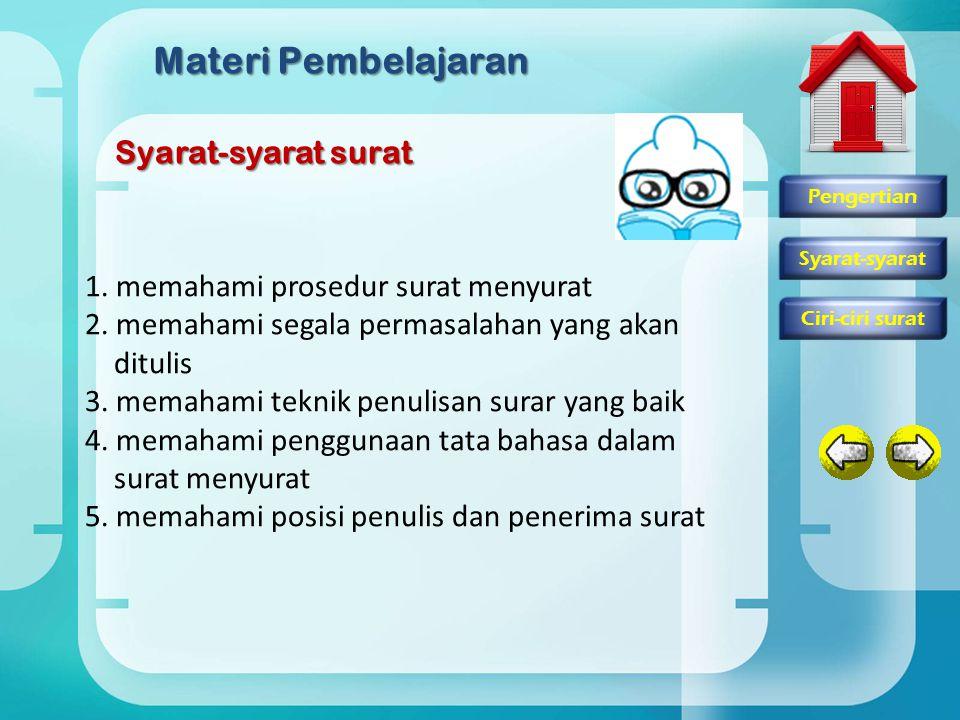 Materi Pembelajaran Syarat-syarat surat