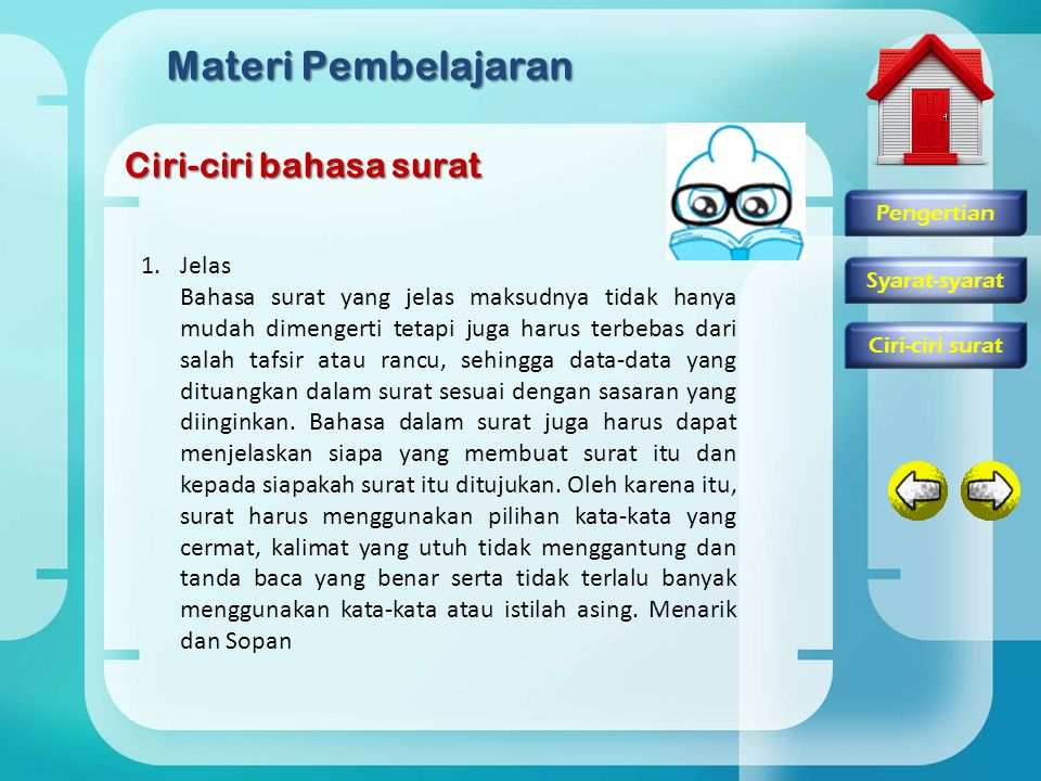 Materi Pembelajaran Ciri-ciri bahasa surat Jelas