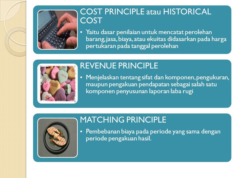 COST PRINCIPLE atau HISTORICAL COST