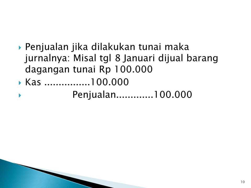 Penjualan jika dilakukan tunai maka jurnalnya: Misal tgl 8 Januari dijual barang dagangan tunai Rp 100.000