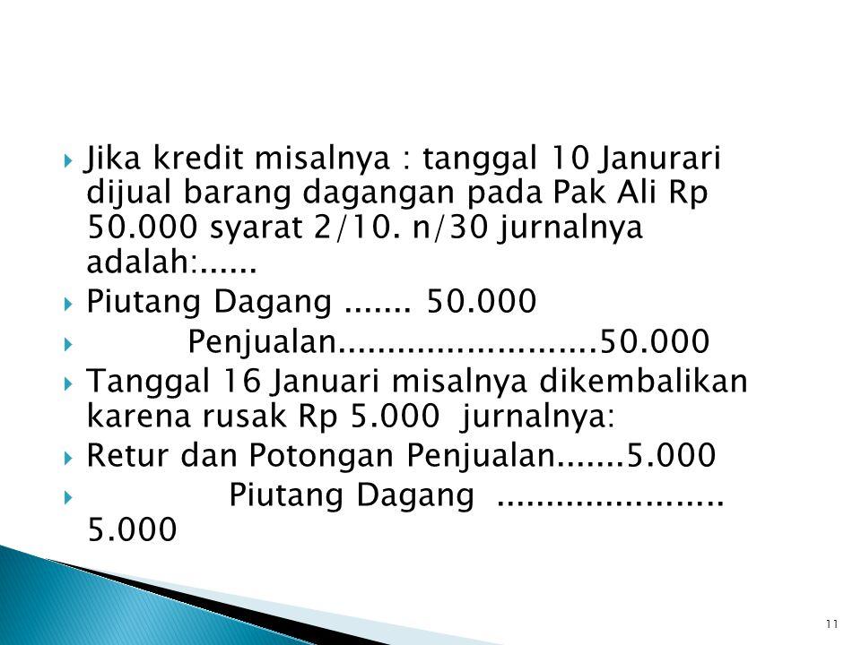 Jika kredit misalnya : tanggal 10 Janurari dijual barang dagangan pada Pak Ali Rp 50.000 syarat 2/10. n/30 jurnalnya adalah:......