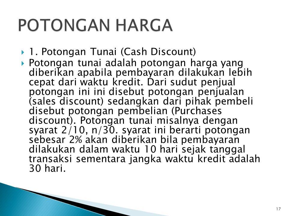 POTONGAN HARGA 1. Potongan Tunai (Cash Discount)
