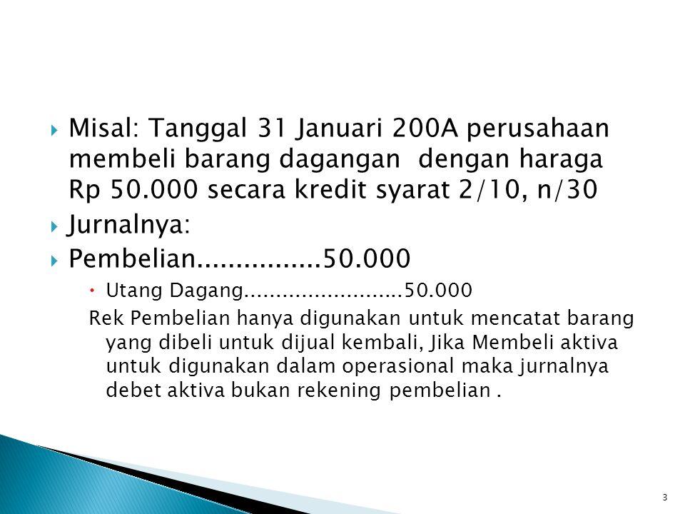 Misal: Tanggal 31 Januari 200A perusahaan membeli barang dagangan dengan haraga Rp 50.000 secara kredit syarat 2/10, n/30