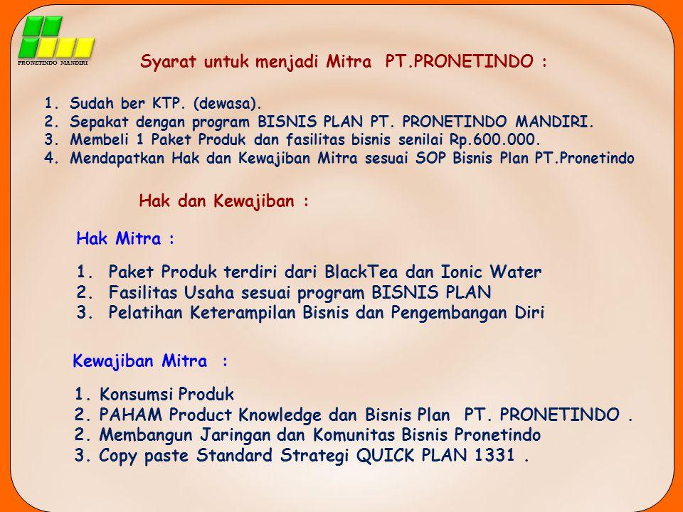 Syarat untuk menjadi Mitra PT.PRONETINDO :