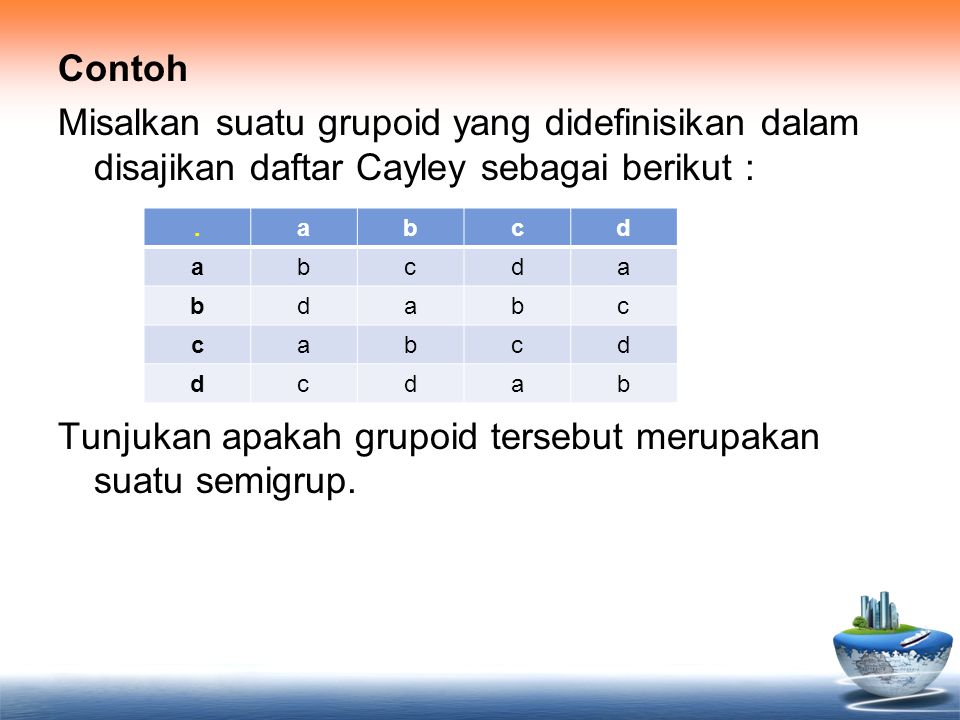 Contoh Misalkan suatu grupoid yang didefinisikan dalam disajikan daftar Cayley sebagai berikut : Tunjukan apakah grupoid tersebut merupakan suatu semigrup.