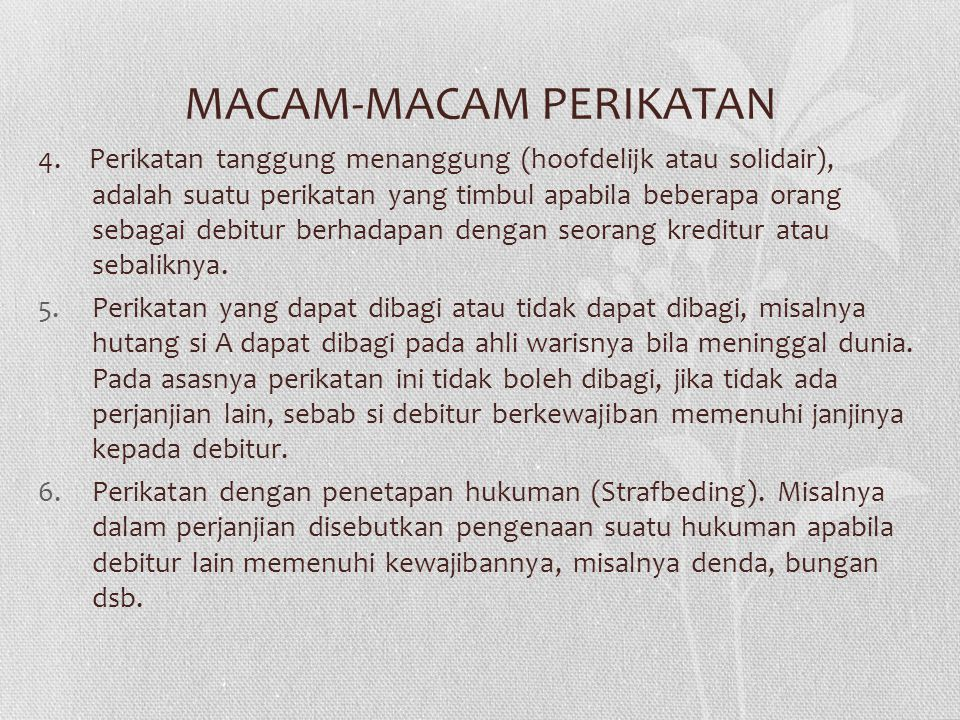 MACAM-MACAM PERIKATAN