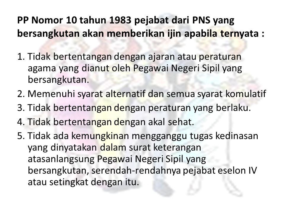 PP Nomor 10 tahun 1983 pejabat dari PNS yang bersangkutan akan memberikan ijin apabila ternyata :
