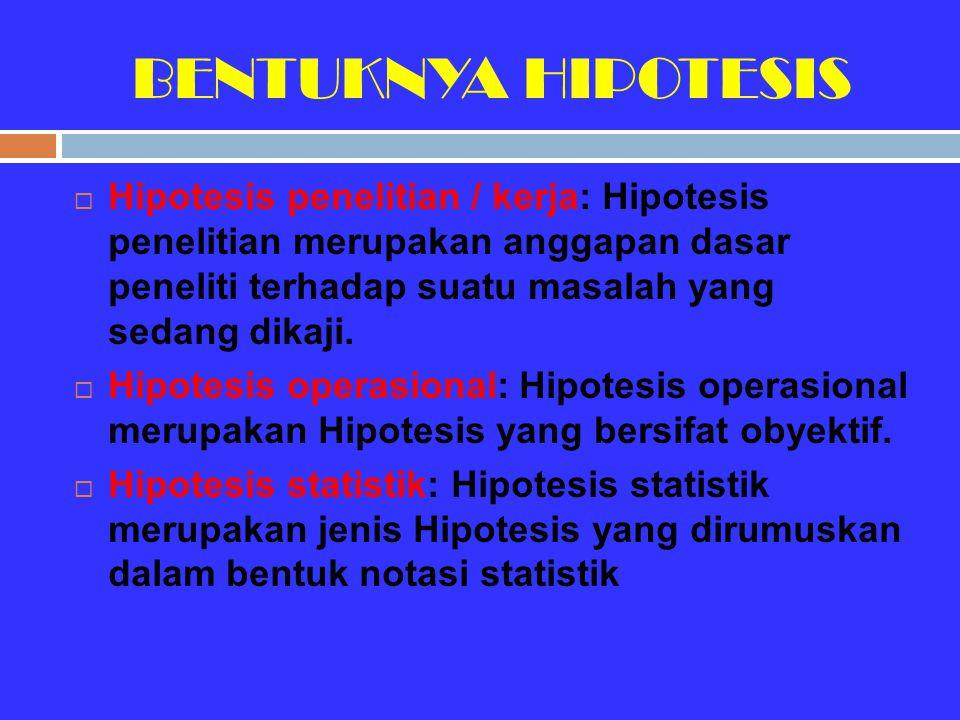 BENTUKNYA HIPOTESIS