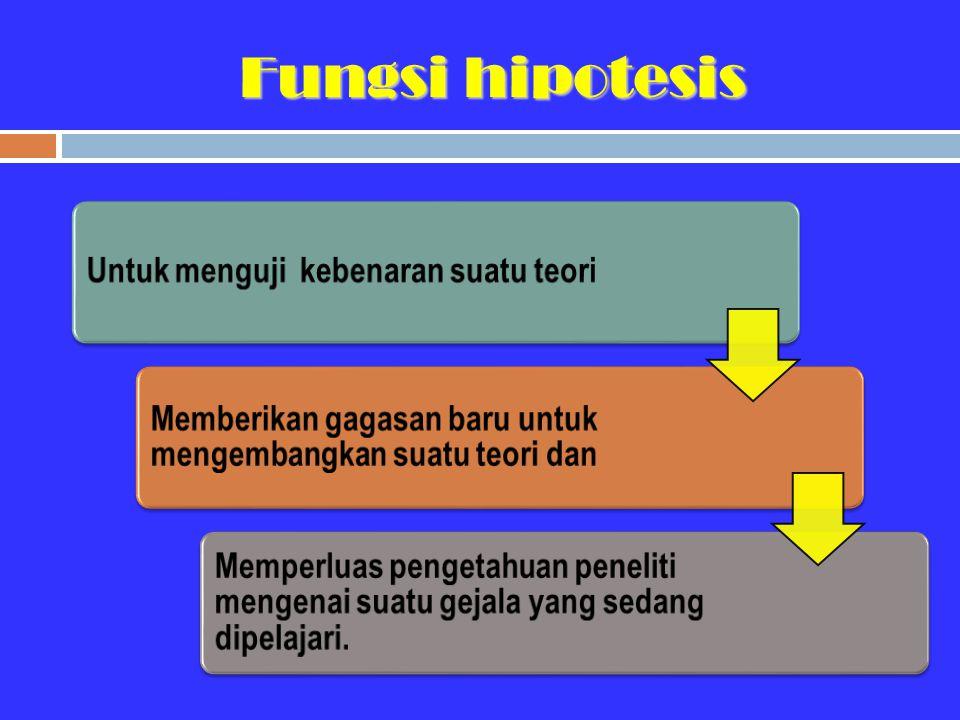 Fungsi hipotesis Untuk menguji kebenaran suatu teori