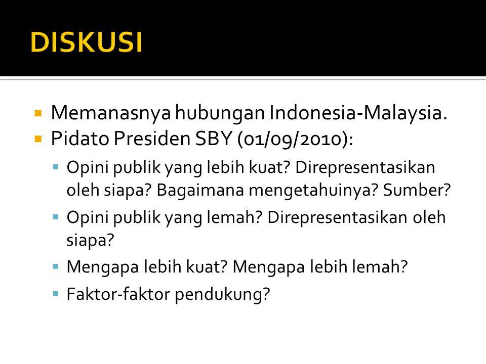 DISKUSI Memanasnya hubungan Indonesia-Malaysia.