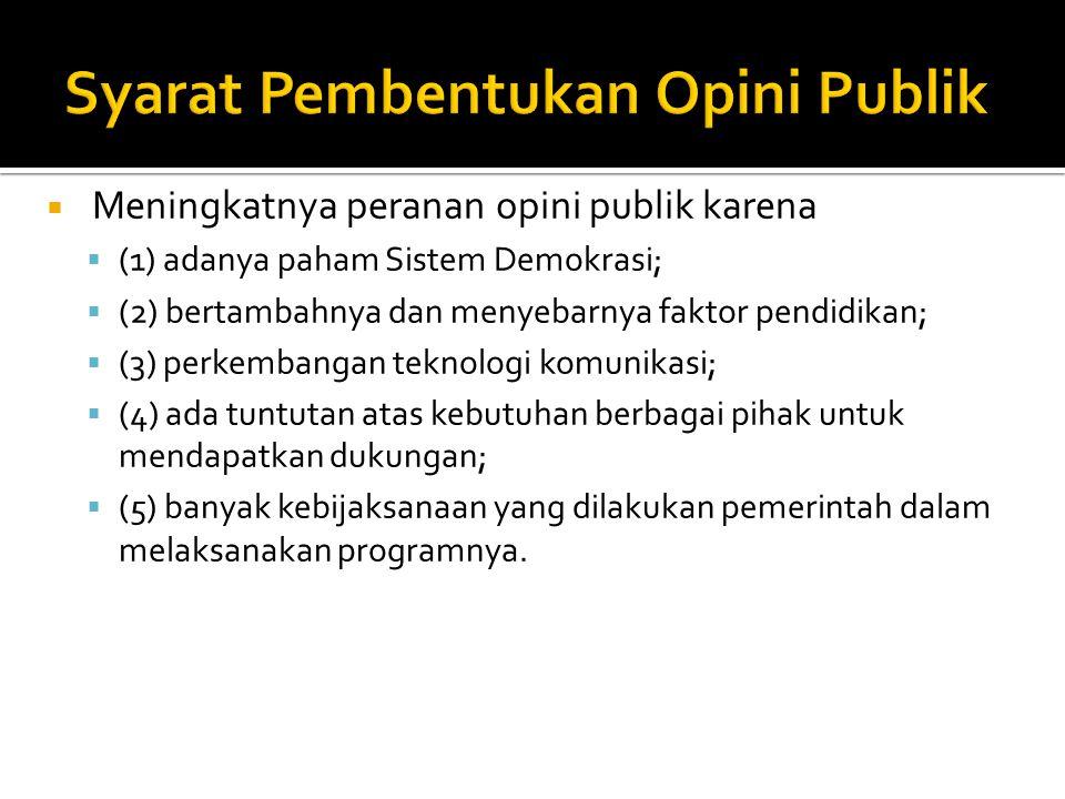 Syarat Pembentukan Opini Publik