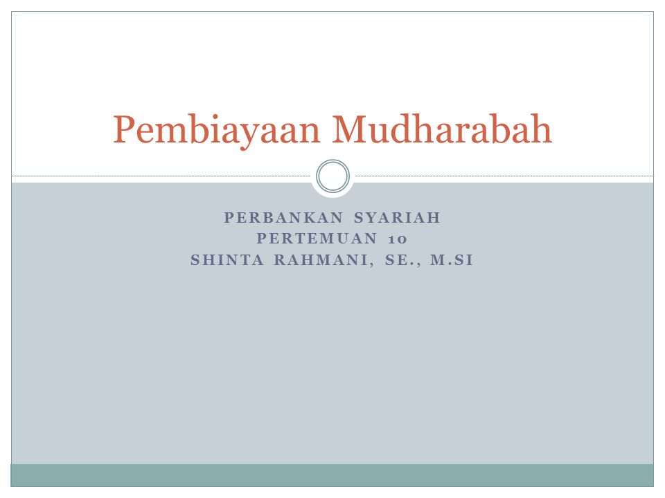 Pembiayaan Mudharabah