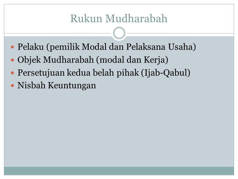 Rukun Mudharabah Pelaku (pemilik Modal dan Pelaksana Usaha)