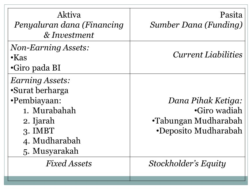 Penyaluran dana (Financing & Investment