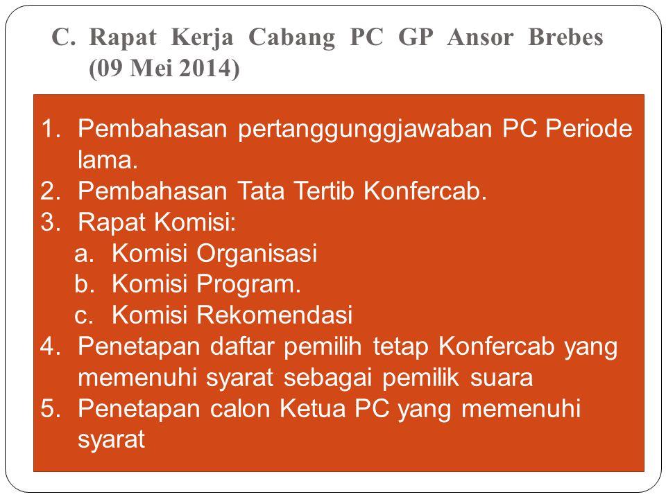 Rapat Kerja Cabang PC GP Ansor Brebes (09 Mei 2014)