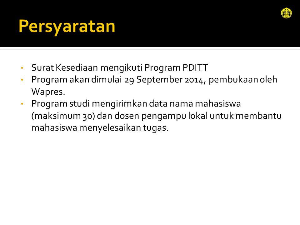 Persyaratan Surat Kesediaan mengikuti Program PDITT