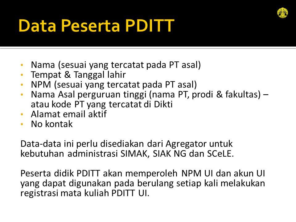 Data Peserta PDITT Nama (sesuai yang tercatat pada PT asal)