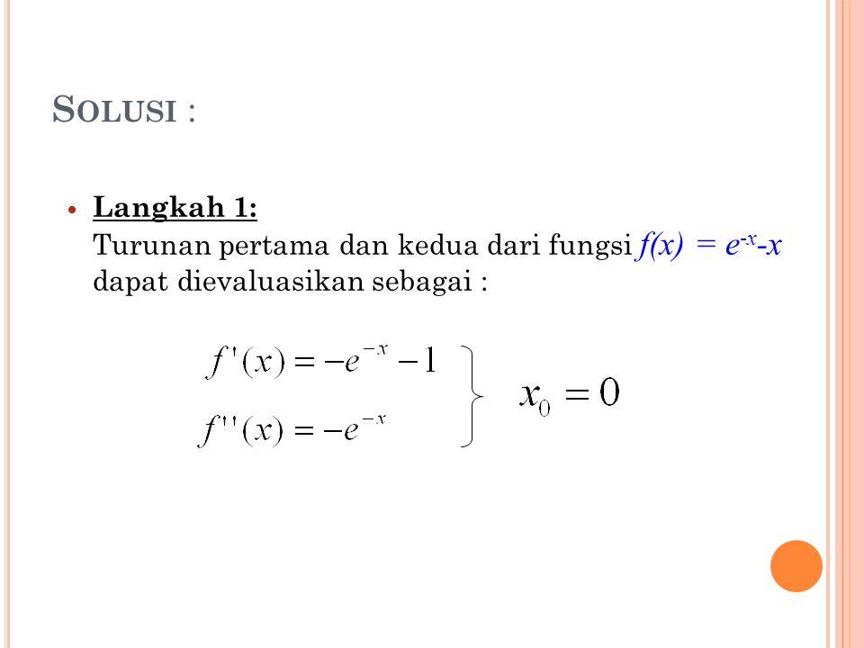 Solusi : Langkah 1: Turunan pertama dan kedua dari fungsi f(x) = e-x-x