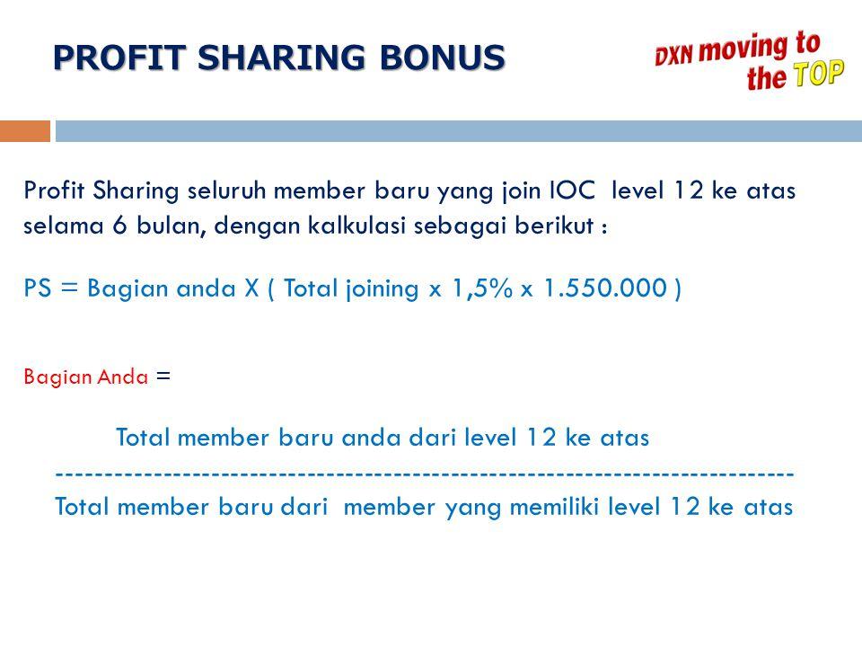 PROFIT SHARING BONUS Profit Sharing seluruh member baru yang join IOC level 12 ke atas selama 6 bulan, dengan kalkulasi sebagai berikut :