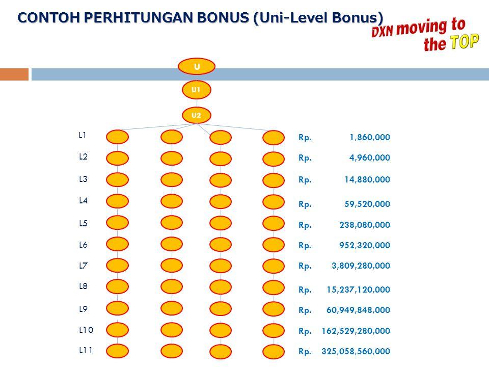 CONTOH PERHITUNGAN BONUS (Uni-Level Bonus)