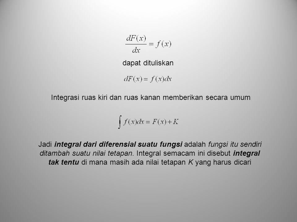 dapat dituliskan Integrasi ruas kiri dan ruas kanan memberikan secara umum.