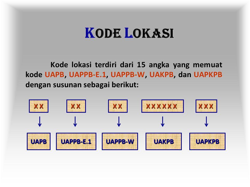 KODE LOKASI Kode lokasi terdiri dari 15 angka yang memuat kode UAPB, UAPPB-E.1, UAPPB-W, UAKPB, dan UAPKPB dengan susunan sebagai berikut: