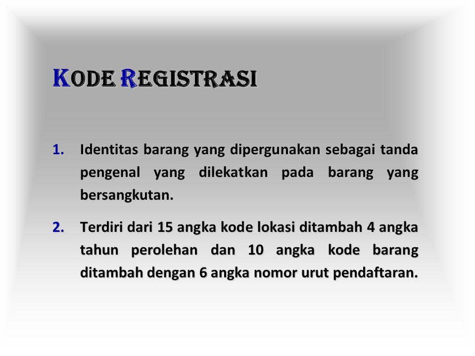 KODE REGISTRASI Identitas barang yang dipergunakan sebagai tanda pengenal yang dilekatkan pada barang yang bersangkutan.