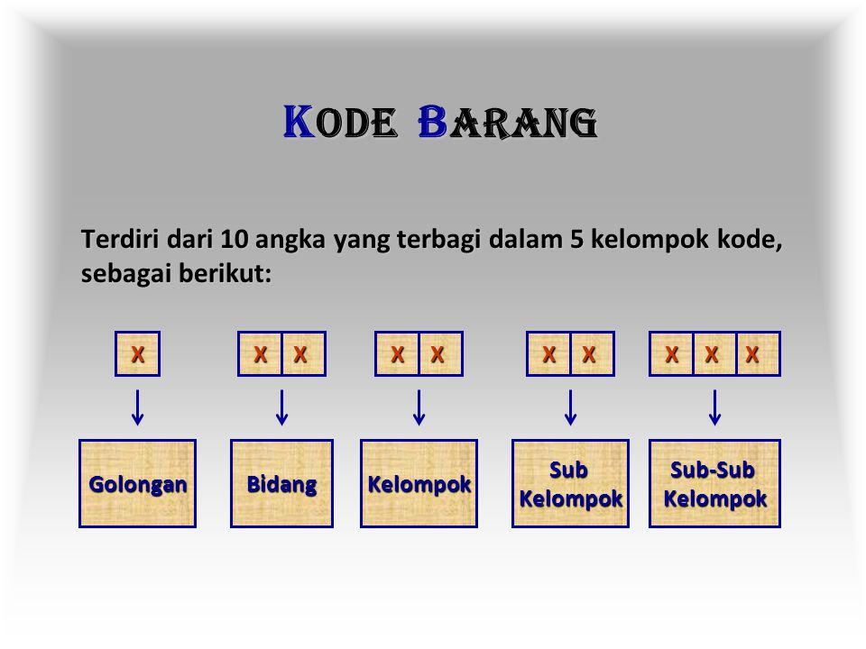 KODE BARANG Terdiri dari 10 angka yang terbagi dalam 5 kelompok kode, sebagai berikut: X. X X.
