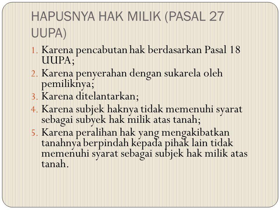 HAPUSNYA HAK MILIK (PASAL 27 UUPA)